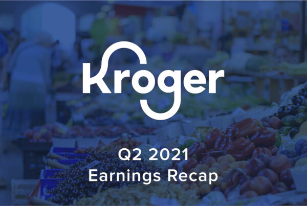 kroger earnings recap text over grocery section photo